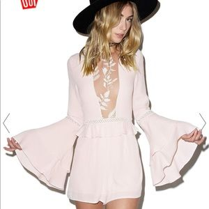 For Love and Lemons lace accent high waist romper